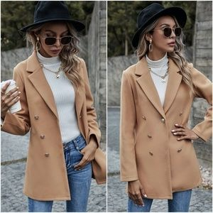 camel double breasted button pea coat jacket